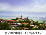 panoramic view of a small town... | Shutterstock . vector #647037550