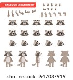 cartoon raccoon creation set.... | Shutterstock .eps vector #647037919