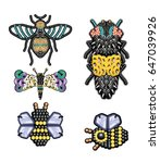 beetle illustration with sequin | Shutterstock .eps vector #647039926