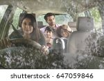happy family travelling in car     Shutterstock . vector #647059846