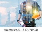 double exposure of engineer... | Shutterstock . vector #647070460