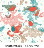 seamless winter pattern with... | Shutterstock .eps vector #64707790