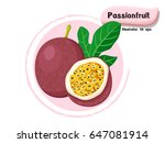 vector passion fruit isolated... | Shutterstock .eps vector #647081914