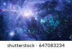 nebula and galaxies in space.... | Shutterstock . vector #647083234