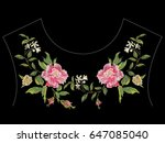 embroidery floral neck line... | Shutterstock .eps vector #647085040