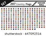 set 207 country flag soccer... | Shutterstock .eps vector #647092516