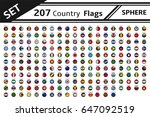 set 207 countries flags sphere... | Shutterstock .eps vector #647092519