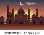 arab night holy city mosque.... | Shutterstock .eps vector #647096170