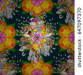 seamless floral pattern.... | Shutterstock . vector #647097370