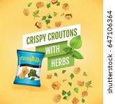 Crispy Croutons Ads. Vector...