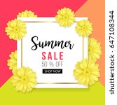 summer sale background with... | Shutterstock .eps vector #647108344