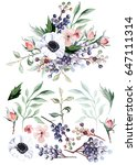 flower bouquet with elements | Shutterstock . vector #647111314