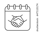 negotiations day linear icon.... | Shutterstock .eps vector #647113174