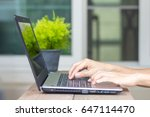 close up of man's hands typing... | Shutterstock . vector #647114470