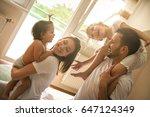 family spending free time at... | Shutterstock . vector #647124349