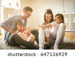 happy family with two daughters ... | Shutterstock . vector #647126929