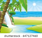 tropical beach and waterfall.   Shutterstock .eps vector #647127460