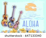 hand drawn vector postcard with ... | Shutterstock .eps vector #647133340