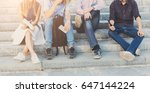 group of people with gadgets... | Shutterstock . vector #647144224