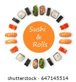 sushi and rolls. japanese food... | Shutterstock . vector #647145514