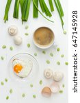 fried egg in a heart form and...   Shutterstock . vector #647145928