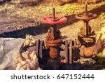 old water shut off valves. toned | Shutterstock . vector #647152444