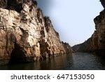 marble rocks alongside narmada... | Shutterstock . vector #647153050