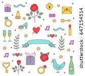 colorful wedding doodle love... | Shutterstock .eps vector #647154514