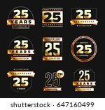 25th anniversary logo set with... | Shutterstock .eps vector #647160499