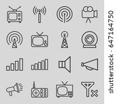 broadcast icons set. set of 16... | Shutterstock .eps vector #647164750