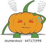 pumpkin man sick   Shutterstock .eps vector #647171998