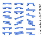 blue flat style ribbons banners ... | Shutterstock . vector #647178883