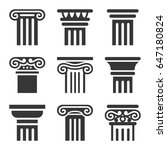 ancient columns icon set on... | Shutterstock . vector #647180824