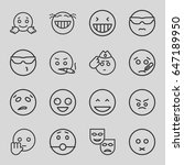 expression icons set. set of 16 ... | Shutterstock .eps vector #647189950