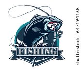 perch fish and fishing rod logo.... | Shutterstock .eps vector #647194168