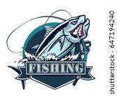 tuna big fishing on white logo... | Shutterstock .eps vector #647194240