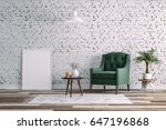 3d clean interior room with... | Shutterstock . vector #647196868