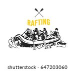 Rafting Logo With Rafting Boat...