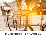 basket bicycle at sunny day  ... | Shutterstock . vector #647208526