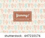doodle ice cream seamless...   Shutterstock .eps vector #647210176