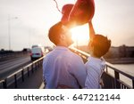 beautiful couple in love at... | Shutterstock . vector #647212144
