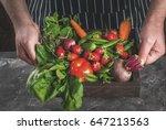market. healthy vegan food.... | Shutterstock . vector #647213563