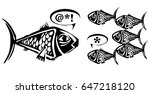 woodcut style fish speaking to...