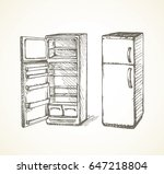 new grey cooler icebox frig... | Shutterstock .eps vector #647218804