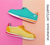 a pair of vintage sneakers.... | Shutterstock . vector #647218990