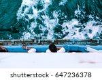wave around the ferry . | Shutterstock . vector #647236378