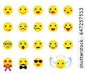 yellow smileys on a white... | Shutterstock .eps vector #647257513