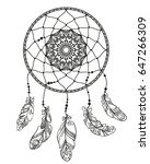 hand drawn dreamcatcher with... | Shutterstock .eps vector #647266309
