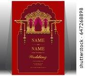 wedding invitation card... | Shutterstock .eps vector #647268898
