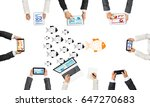 group of people with devices in ... | Shutterstock . vector #647270683
